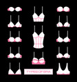 set of female bras icons in flat style vector image
