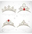 Set openwork jewelry tiaras with diamonds and vector image vector image