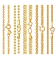 set realistic golden chains with clasp vector image vector image