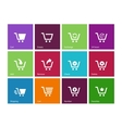 Shopping cart icons on color background vector image vector image