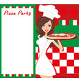 smiling waitress serving pizza place for your text vector image
