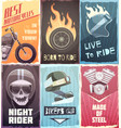 vintage biker posters collection vector image