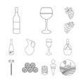 wine products outline icons in set collection for vector image