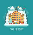 winter ski resort flat landscape vector image vector image