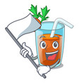 with flag sweet carrot juice isolated on mascot vector image vector image