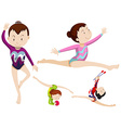 Women athletes doing gymnastics with objects vector image vector image