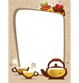 Card with Cups and Sweets Cake vector image