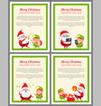 merry christmas set of banners vector image