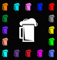 glass of beer icon sign Lots of colorful symbols vector image