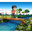 A boy running while crossing the river vector image vector image