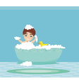baby boy taking bath and playing vector image