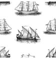 background sketches sailing vessels vector image