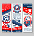 banners for football or soccer sport club vector image vector image