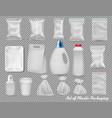 big set polypropylene plastic packaging vector image