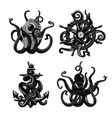 black and white tattoo set with octopus tentacles vector image