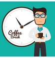 cartoon man coffee break graphic vector image