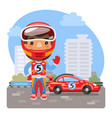 cartoon racer and car vector image