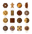 Chocolate cookie icons vector image vector image