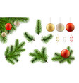 christmas branch and ball set vector image vector image
