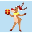 christmas deer with banner isolated happy winter vector image vector image