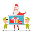 christmas sale greeting card with santa and elves vector image vector image