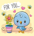 cute cartoon bird with flower on orange background vector image vector image