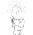 Cute Wedding Couple Standing Under an Umbrella vector image vector image