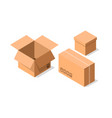 delivery cardboard containers icon set vector image vector image
