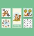 designs set cute wild animals vector image vector image