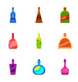 different bottle icons set cartoon style vector image vector image
