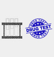 dotted chemical test tubes icon and grunge vector image vector image