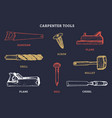 drawing of carpentry tools of vector image vector image