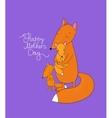 Family of cute cartoon fox Funny animals Happy vector image vector image
