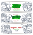 Fast food menu special offer sketch banner set vector image vector image