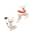 flat christmas reindeer set vector image vector image