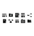 folder icon set simple style vector image vector image