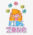 girl with cubes game in the kids zone vector image