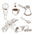 Handdrawn coffee accessories vector image