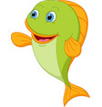 happy fish cartoon presenting vector image vector image