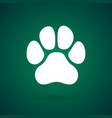 isolated paw foot on green background vector image