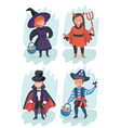 kid wearing halloween costumes vector image vector image