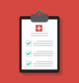 medical report icon in flat style checklist vector image vector image
