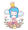 mermaid woman wearing crown with flowers and vector image vector image