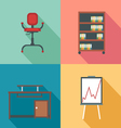 Modern office rurniture set in outlines Digital im vector image