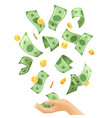money falling to hands vector image vector image