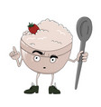 oatmeal bowl character isolated on white vector image vector image