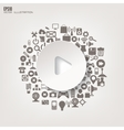 Play button icon Flat abstract background with vector image