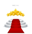 podium with red carpet and stars vector image vector image