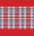 red plaid tartan fabric texture seamless pattern vector image vector image