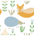 seamless baby pattern with cute forest animals vector image